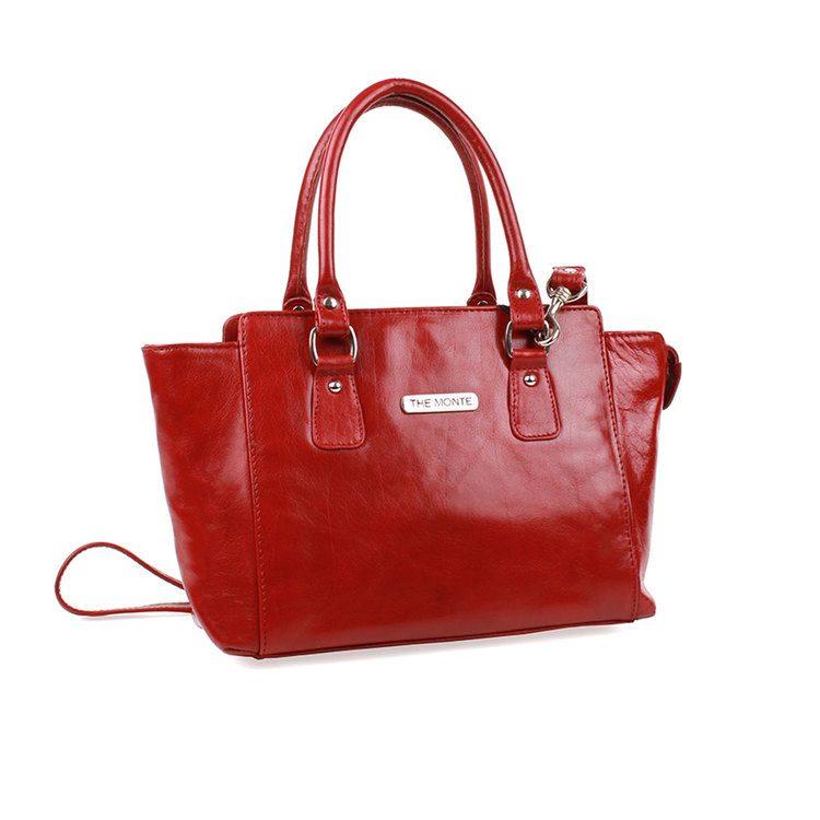 Handväska skinn röd - The Monte  51106  1a55794e0c7e0