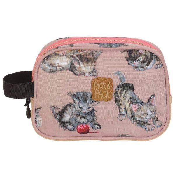 Pick & Pack, katt, necessär, rosa