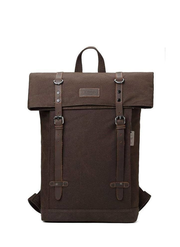 Troop Heritage, canvas, läder, brun, laptop, ryggsäck